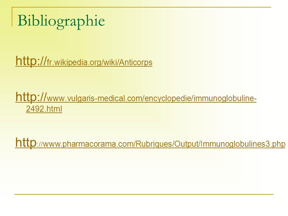 Bibliographie http :// fr.wikipedia.org/wiki/Anticorps http :// www.vulgaris-medical.com/encyclopedie/immunoglobuline- 2492.html http :// www.pharmaco