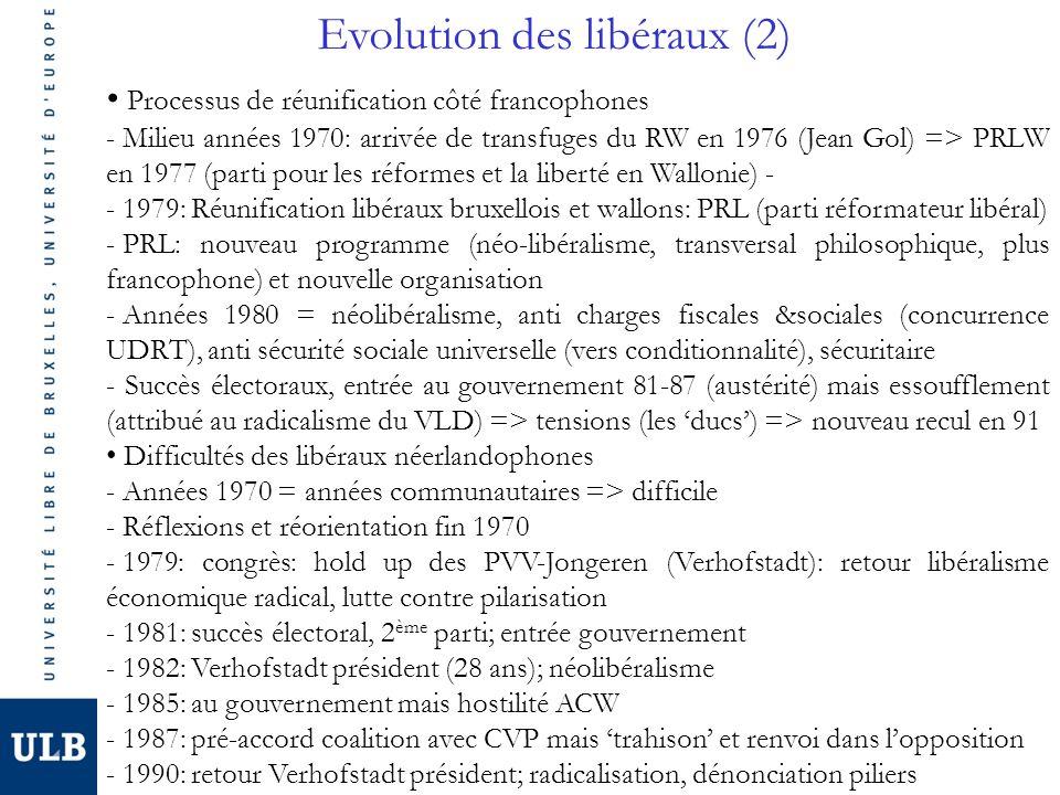 Evolution des libéraux (2) Processus de réunification côté francophones - Milieu années 1970: arrivée de transfuges du RW en 1976 (Jean Gol) => PRLW en 1977 (parti pour les réformes et la liberté en Wallonie) - - 1979: Réunification libéraux bruxellois et wallons: PRL (parti réformateur libéral) - PRL: nouveau programme (néo-libéralisme, transversal philosophique, plus francophone) et nouvelle organisation - Années 1980 = néolibéralisme, anti charges fiscales &sociales (concurrence UDRT), anti sécurité sociale universelle (vers conditionnalité), sécuritaire - Succès électoraux, entrée au gouvernement 81-87 (austérité) mais essoufflement (attribué au radicalisme du VLD) => tensions (les 'ducs') => nouveau recul en 91 Difficultés des libéraux néerlandophones - Années 1970 = années communautaires => difficile - Réflexions et réorientation fin 1970 - 1979: congrès: hold up des PVV-Jongeren (Verhofstadt): retour libéralisme économique radical, lutte contre pilarisation - 1981: succès électoral, 2 ème parti; entrée gouvernement - 1982: Verhofstadt président (28 ans); néolibéralisme - 1985: au gouvernement mais hostilité ACW - 1987: pré-accord coalition avec CVP mais 'trahison' et renvoi dans l'opposition - 1990: retour Verhofstadt président; radicalisation, dénonciation piliers