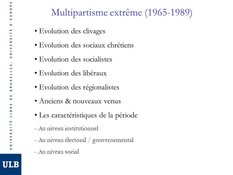 Multipartisme extrême (1965-1989) Evolution des clivages Evolution des sociaux chrétiens Evolution des socialistes Evolution des libéraux Evolution des régionalistes Anciens & nouveaux venus Les caractéristiques de la période - Au niveau institutionnel - Au niveau électoral / gouvernemental - Au niveau social