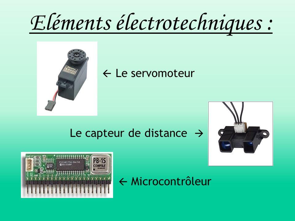  Le servomoteur Le capteur de distance   Microcontrôleur Eléments électrotechniques :