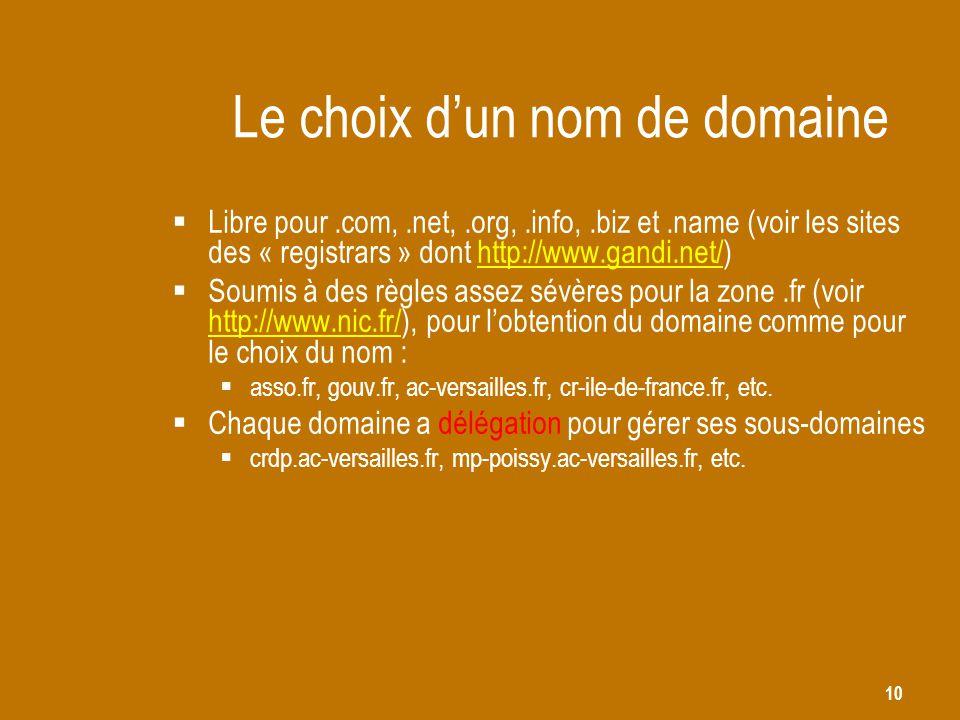 10 Le choix d'un nom de domaine  Libre pour.com,.net,.org,.info,.biz et.name (voir les sites des « registrars » dont http://www.gandi.net/)http://www