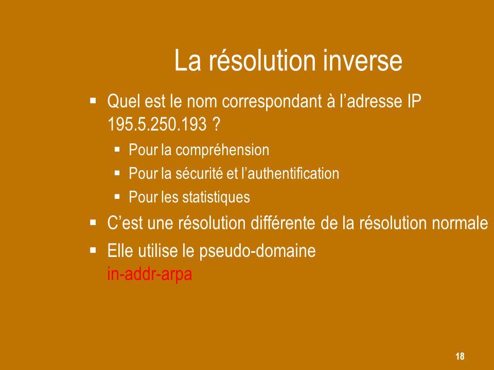 18 La résolution inverse  Quel est le nom correspondant à l'adresse IP 195.5.250.193 ?  Pour la compréhension  Pour la sécurité et l'authentificati