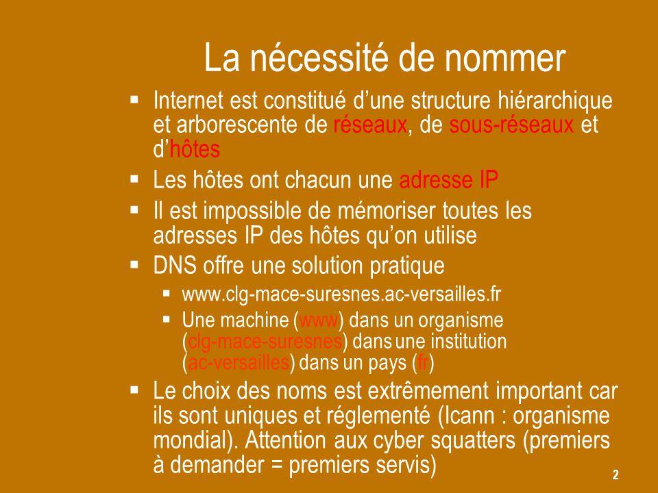 2 La nécessité de nommer  Internet est constitué d'une structure hiérarchique et arborescente de réseaux, de sous-réseaux et d'hôtes  Les hôtes ont