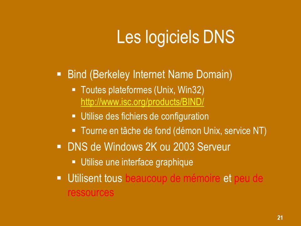 21 Les logiciels DNS  Bind (Berkeley Internet Name Domain)  Toutes plateformes (Unix, Win32) http://www.isc.org/products/BIND/ http://www.isc.org/pr