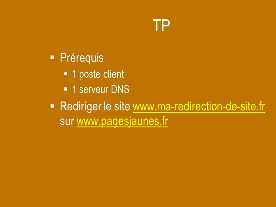TP  Prérequis  1 poste client  1 serveur DNS  Rediriger le site www.ma-redirection-de-site.fr sur www.pagesjaunes.frwww.ma-redirection-de-site.frw