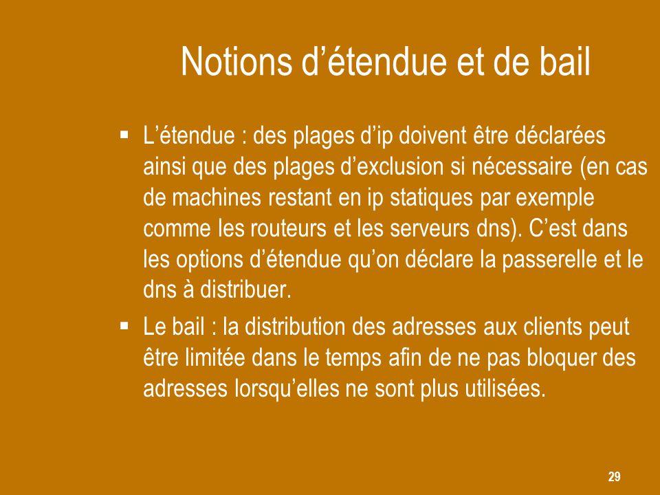 29 Notions d'étendue et de bail  L'étendue : des plages d'ip doivent être déclarées ainsi que des plages d'exclusion si nécessaire (en cas de machine