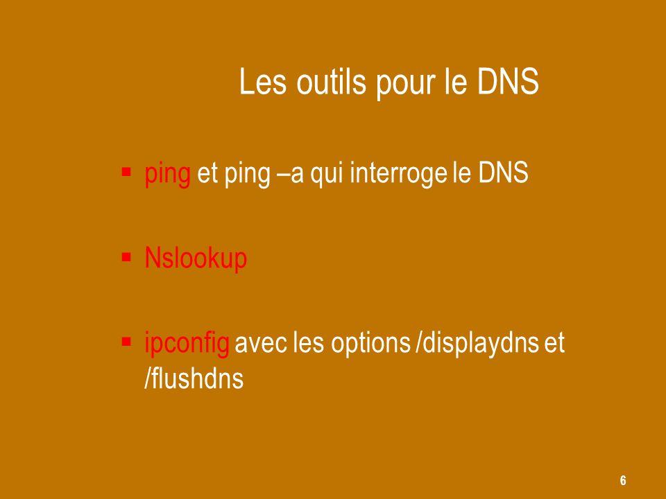 6 Les outils pour le DNS  ping et ping –a qui interroge le DNS  Nslookup  ipconfig avec les options /displaydns et /flushdns