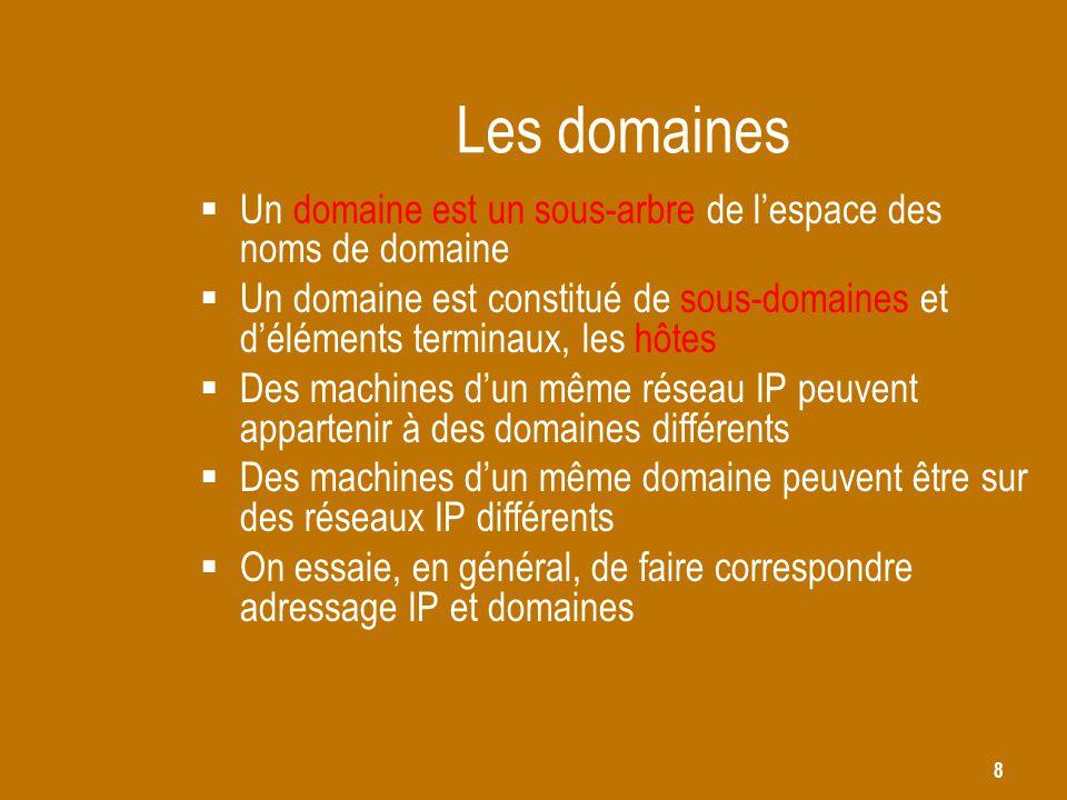 8 Les domaines  Un domaine est un sous-arbre de l'espace des noms de domaine  Un domaine est constitué de sous-domaines et d'éléments terminaux, les