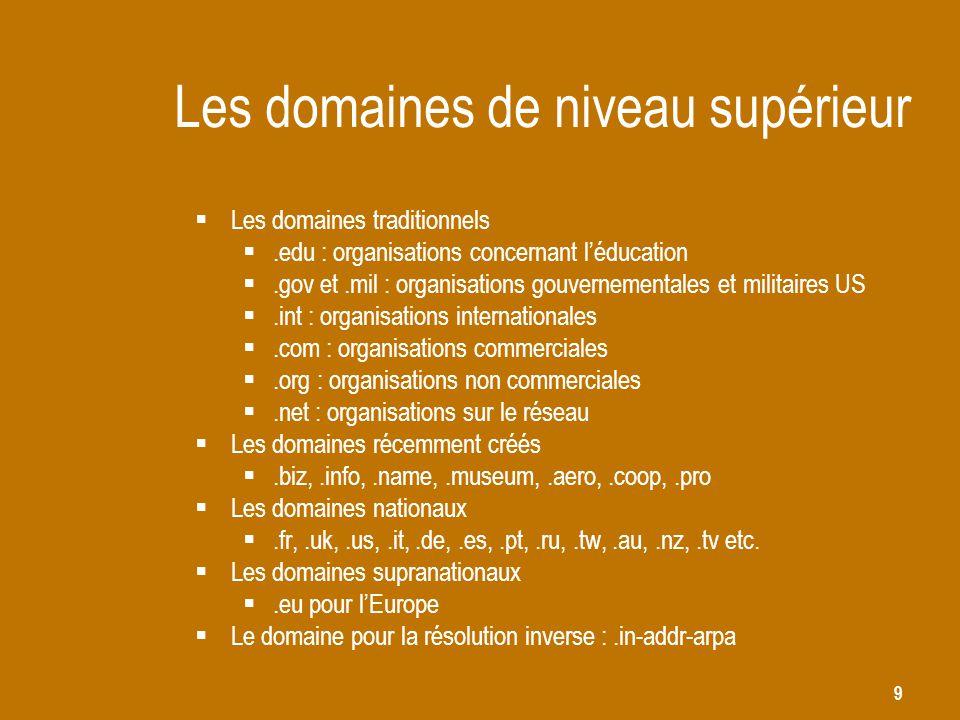 9 Les domaines de niveau supérieur  Les domaines traditionnels .edu : organisations concernant l'éducation .gov et.mil : organisations gouvernement