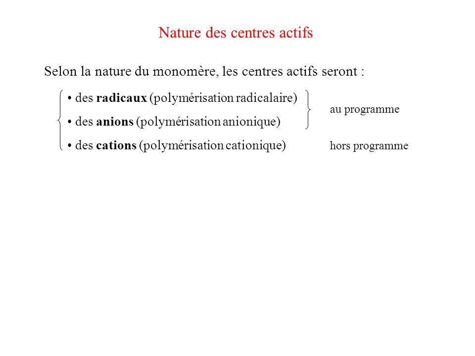 Nature des centres actifs Selon la nature du monomère, les centres actifs seront : des radicaux (polymérisation radicalaire) des anions (polymérisatio