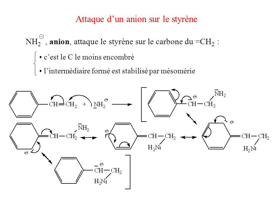 Attaque d'un anion sur le styrène NH 2, anion, attaque le styrène sur le carbone du =CH 2 : c'est le C le moins encombré l'intermédiaire formé est sta