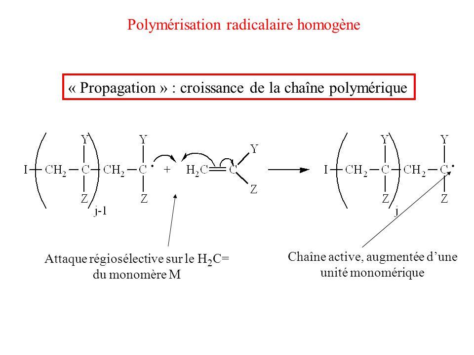 Polymérisation radicalaire homogène « Propagation » : croissance de la chaîne polymérique Attaque régiosélective sur le H 2 C= du monomère M Chaîne ac