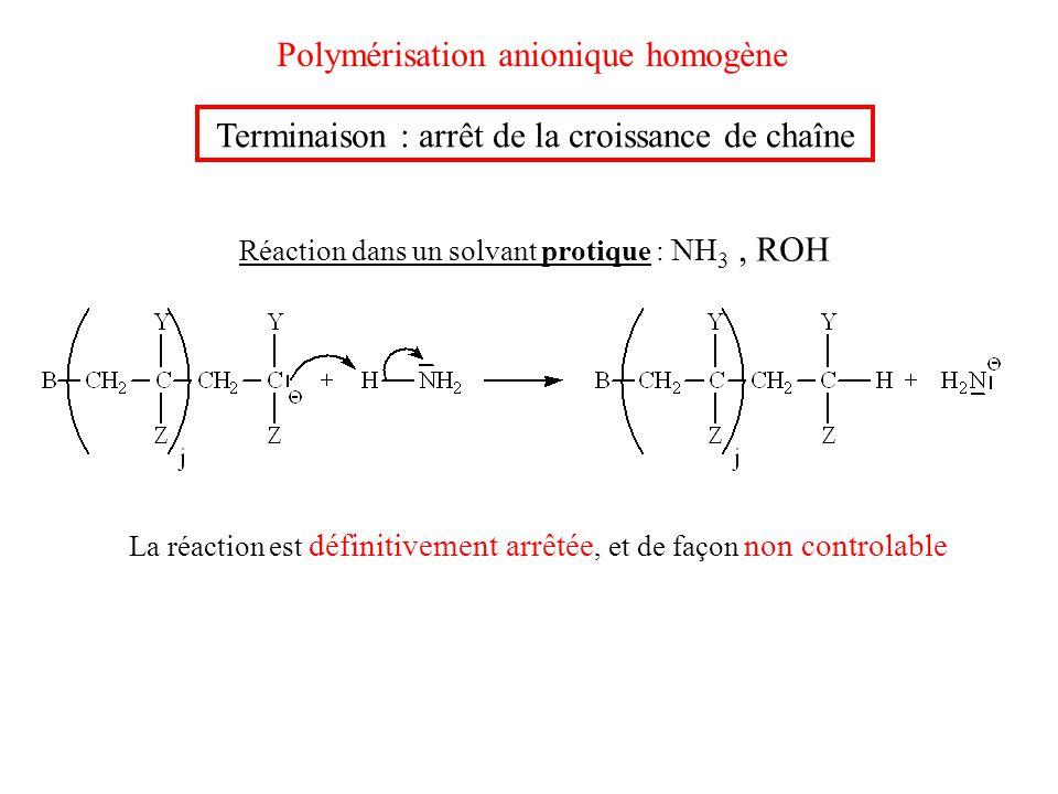 Polymérisation anionique homogène Terminaison : arrêt de la croissance de chaîne Réaction dans un solvant protique : NH 3, ROH La réaction est définit