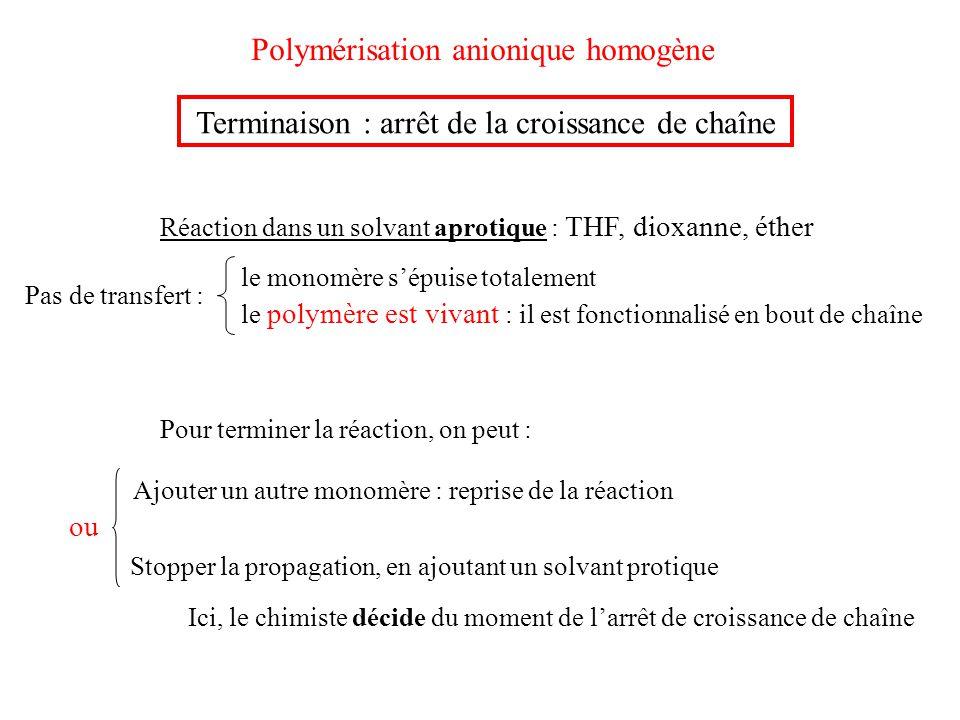 Polymérisation anionique homogène Terminaison : arrêt de la croissance de chaîne Réaction dans un solvant aprotique : THF, dioxanne, éther Ajouter un
