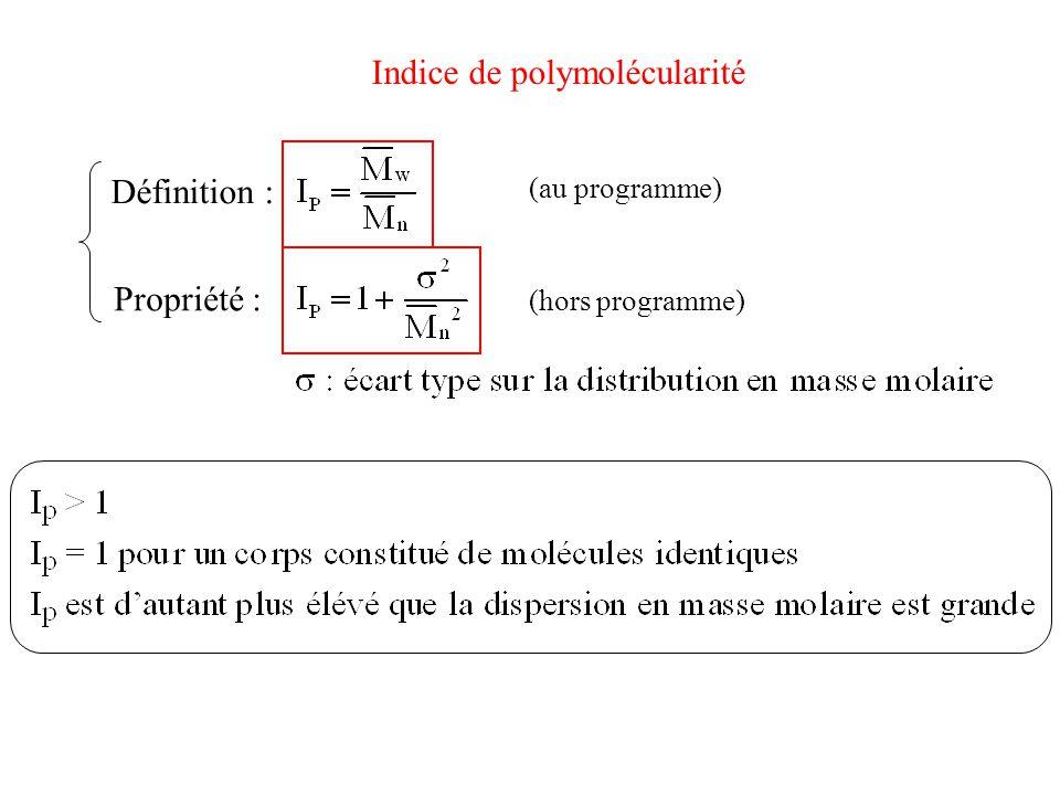Indice de polymolécularité Définition : Propriété : (au programme) (hors programme)