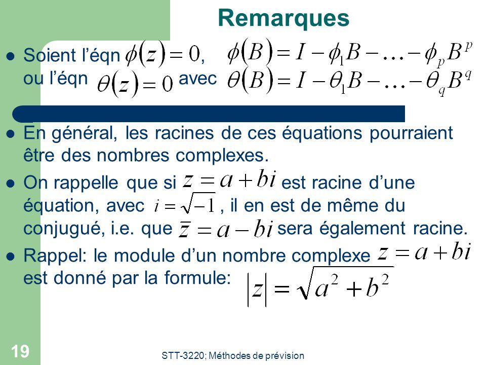 STT-3220; Méthodes de prévision 19 Remarques Soient l'éqn, ou l'éqn avec En général, les racines de ces équations pourraient être des nombres complexe