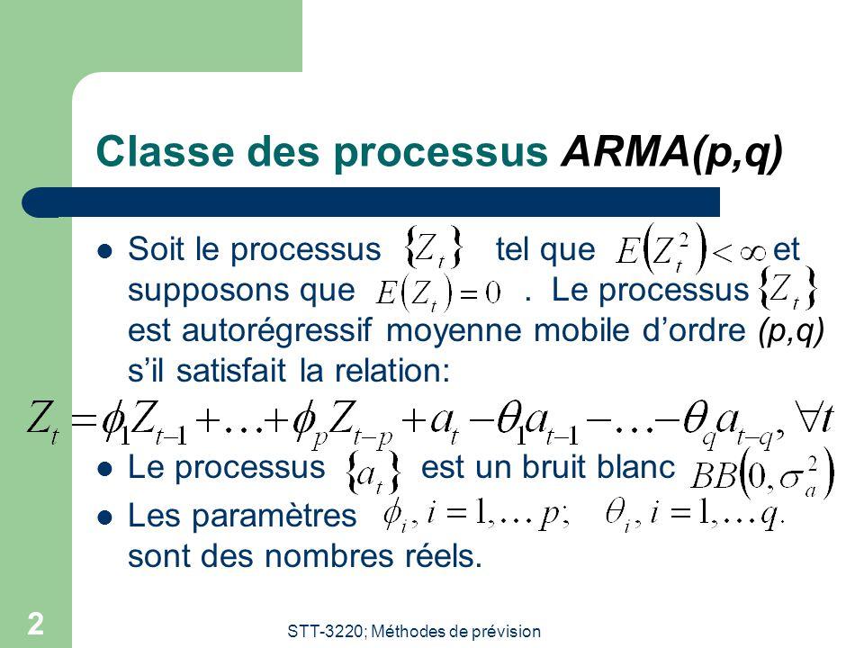 STT-3220; Méthodes de prévision 2 Classe des processus ARMA(p,q) Soit le processus tel que et supposons que. Le processus est autorégressif moyenne mo