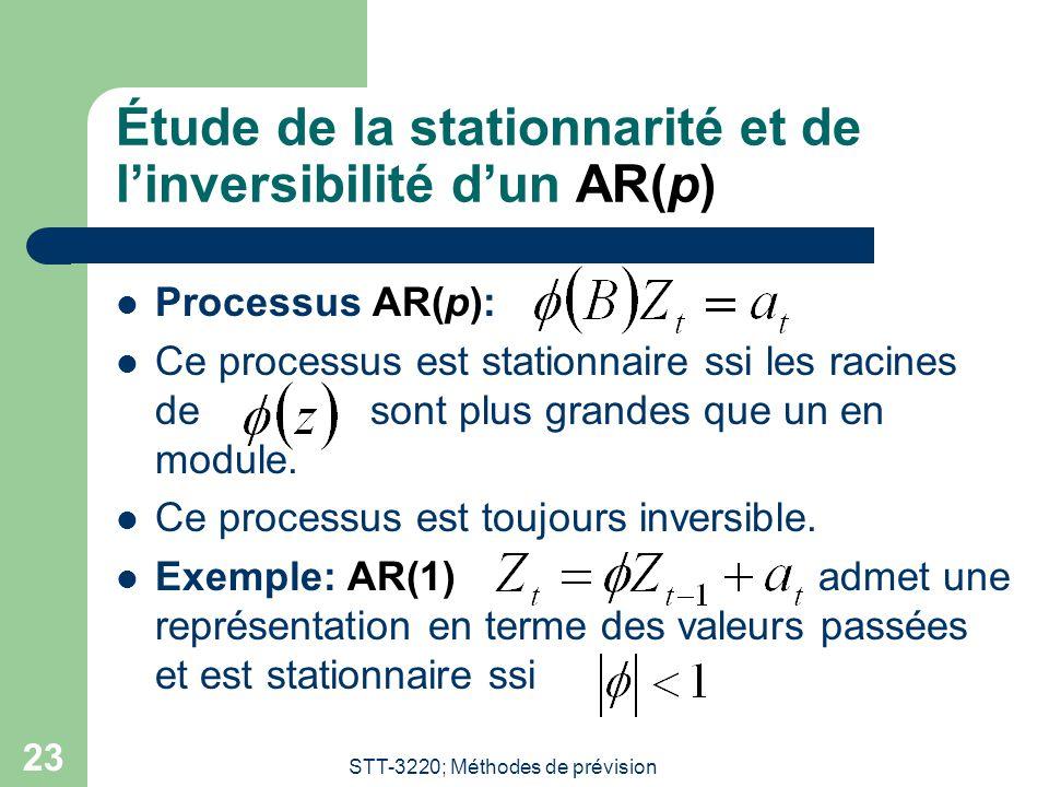STT-3220; Méthodes de prévision 23 Étude de la stationnarité et de l'inversibilité d'un AR(p) Processus AR(p): Ce processus est stationnaire ssi les r