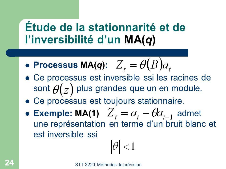 STT-3220; Méthodes de prévision 24 Étude de la stationnarité et de l'inversibilité d'un MA(q) Processus MA(q): Ce processus est inversible ssi les rac