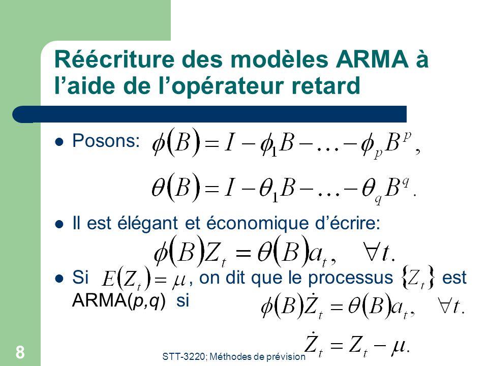 STT-3220; Méthodes de prévision 8 Réécriture des modèles ARMA à l'aide de l'opérateur retard Posons: Il est élégant et économique d'écrire: Si, on dit