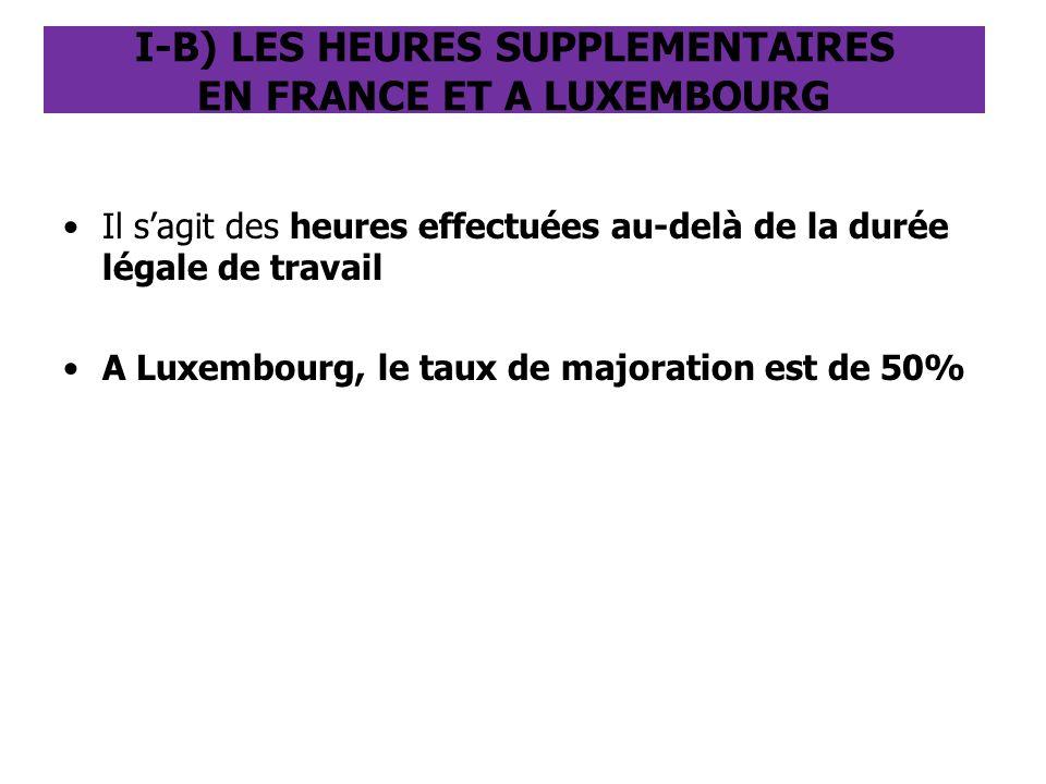 I-B) LES HEURES SUPPLEMENTAIRES EN FRANCE ET A LUXEMBOURG Il s'agit des heures effectuées au-delà de la durée légale de travail A Luxembourg, le taux