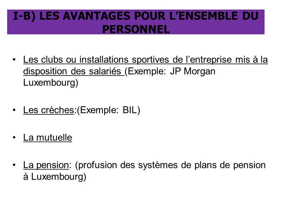 Les clubs ou installations sportives de l'entreprise mis à la disposition des salariés (Exemple: JP Morgan Luxembourg) Les crèches:(Exemple: BIL) La m