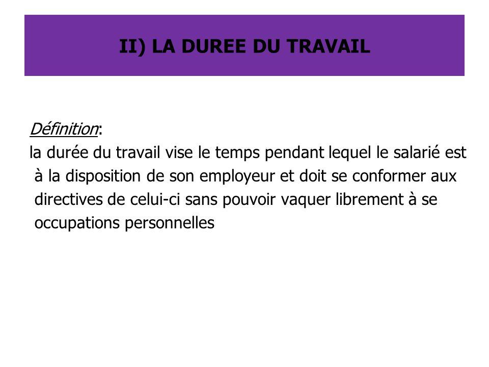 II) LA DUREE DU TRAVAIL Définition: la durée du travail vise le temps pendant lequel le salarié est à la disposition de son employeur et doit se confo