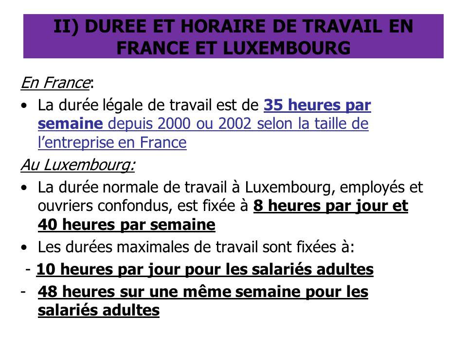 II) DUREE ET HORAIRE DE TRAVAIL EN FRANCE ET LUXEMBOURG En France: La durée légale de travail est de 35 heures par semaine depuis 2000 ou 2002 selon l