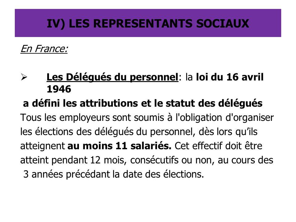 IV) LES REPRESENTANTS SOCIAUX En France:  Les Délégués du personnel: la loi du 16 avril 1946 a défini les attributions et le statut des délégués Tous