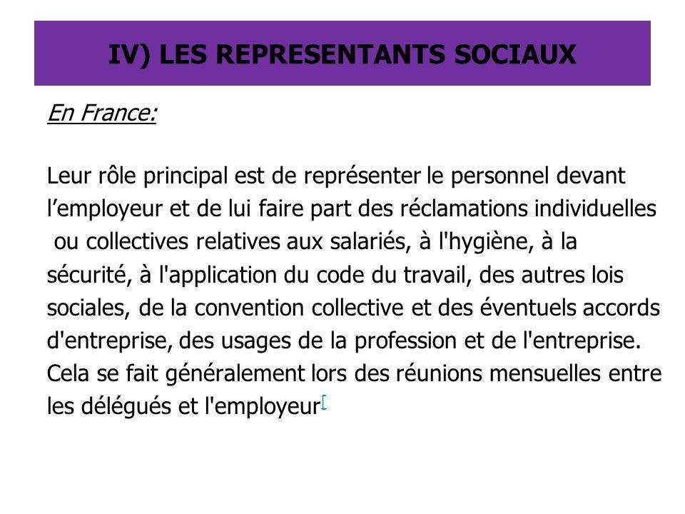 IV) LES REPRESENTANTS SOCIAUX En France: Leur rôle principal est de représenter le personnel devant l'employeur et de lui faire part des réclamations