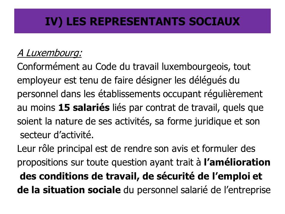 A Luxembourg: Conformément au Code du travail luxembourgeois, tout employeur est tenu de faire désigner les délégués du personnel dans les établisseme