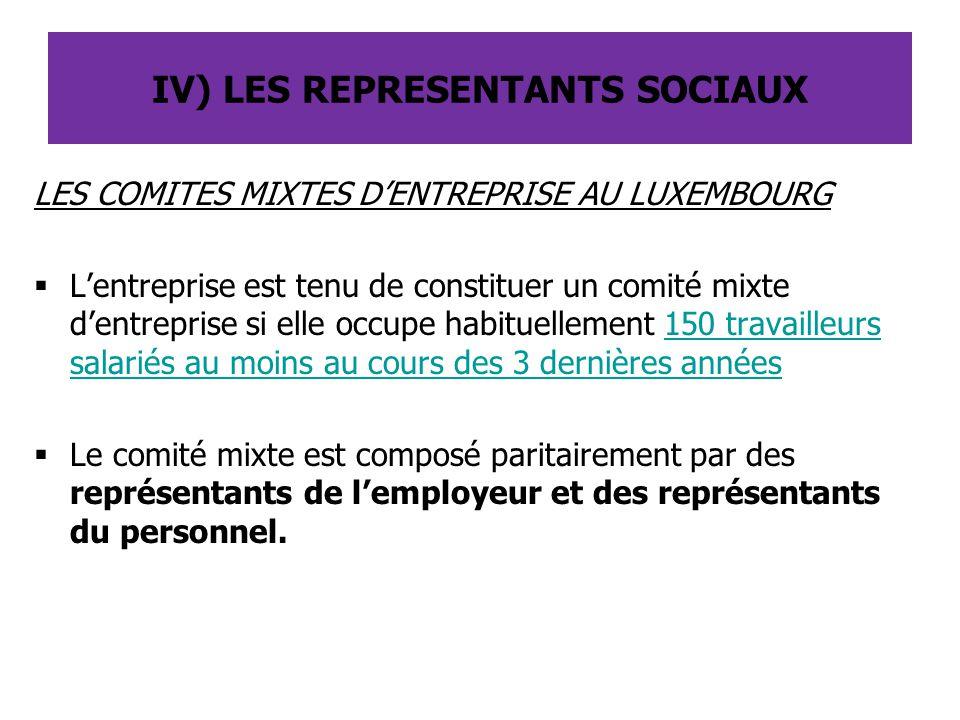 LES COMITES MIXTES D'ENTREPRISE AU LUXEMBOURG  L'entreprise est tenu de constituer un comité mixte d'entreprise si elle occupe habituellement 150 tra