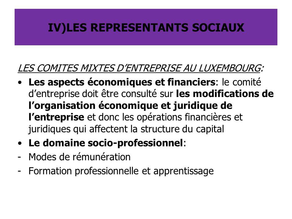 LES COMITES MIXTES D'ENTREPRISE AU LUXEMBOURG: Les aspects économiques et financiers: le comité d'entreprise doit être consulté sur les modifications