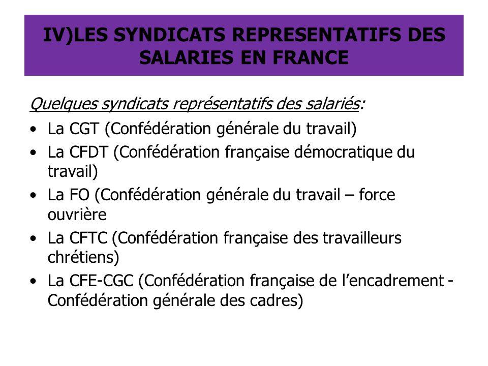 IV)LES SYNDICATS REPRESENTATIFS DES SALARIES EN FRANCE Quelques syndicats représentatifs des salariés: La CGT (Confédération générale du travail) La C