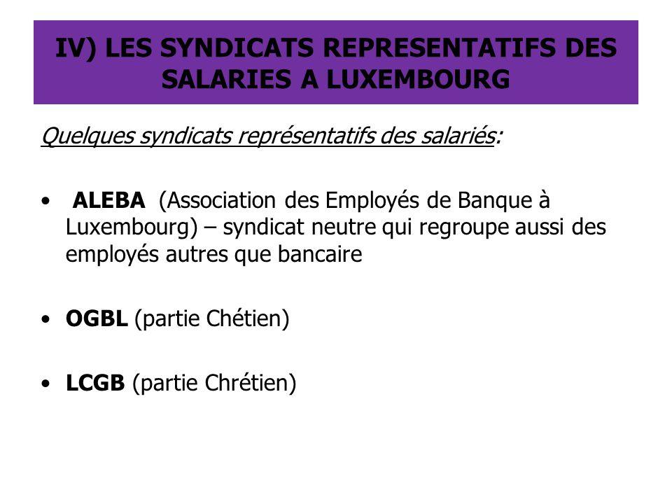 IV) LES SYNDICATS REPRESENTATIFS DES SALARIES A LUXEMBOURG Quelques syndicats représentatifs des salariés: ALEBA (Association des Employés de Banque à