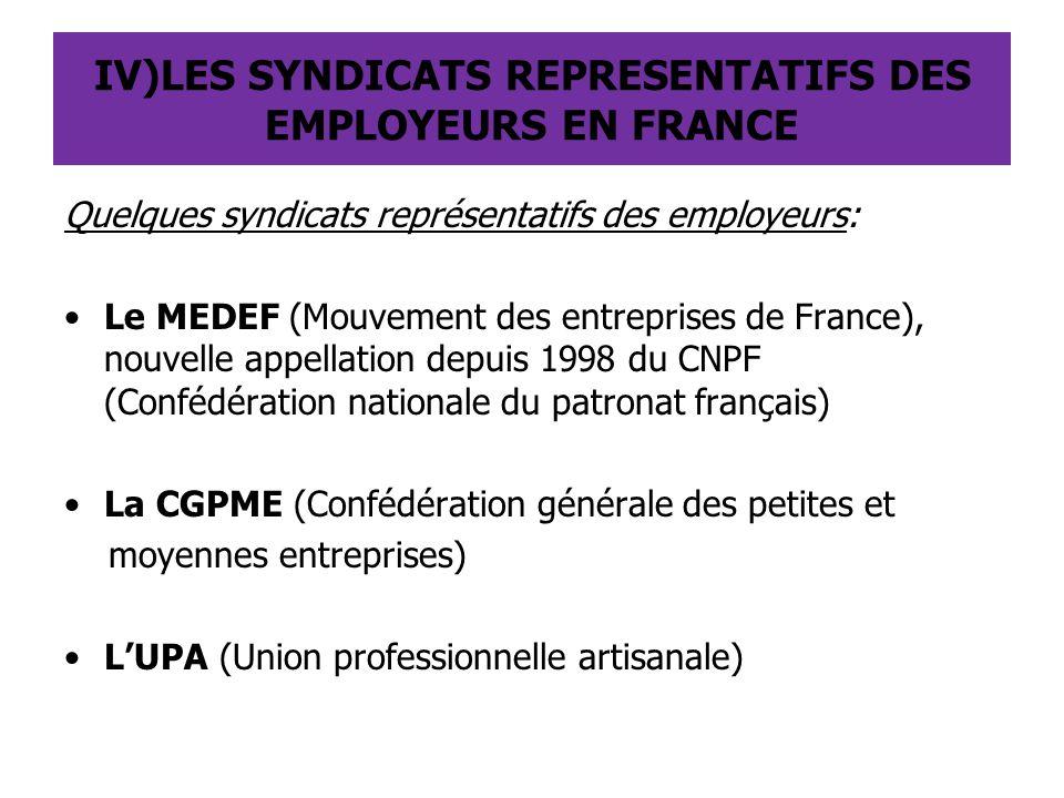 IV)LES SYNDICATS REPRESENTATIFS DES EMPLOYEURS EN FRANCE Quelques syndicats représentatifs des employeurs: Le MEDEF (Mouvement des entreprises de Fran