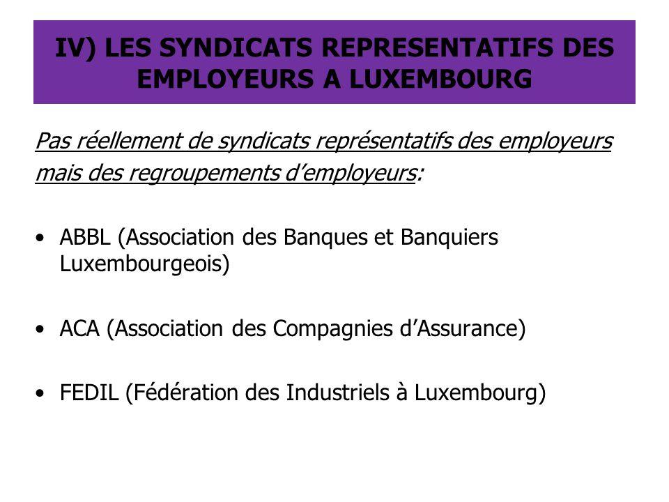 IV) LES SYNDICATS REPRESENTATIFS DES EMPLOYEURS A LUXEMBOURG Pas réellement de syndicats représentatifs des employeurs mais des regroupements d'employ