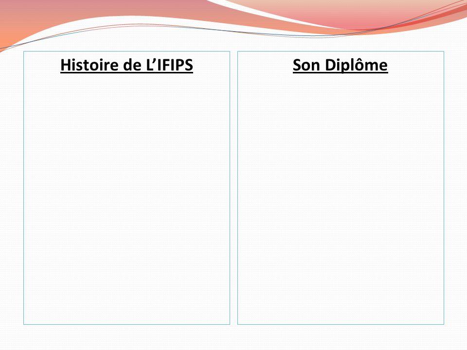 Histoire de L'IFIPSSon Diplôme