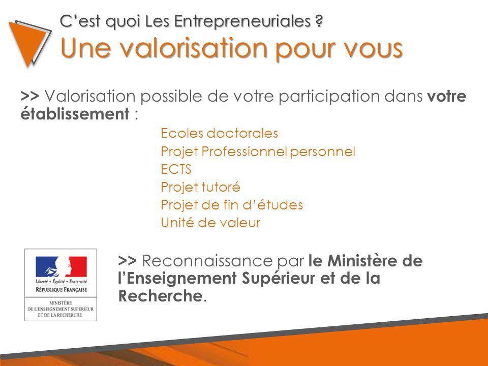 >> Valorisation possible de votre participation dans votre établissement : Ecoles doctorales Projet Professionnel personnel ECTS Projet tutoré Projet