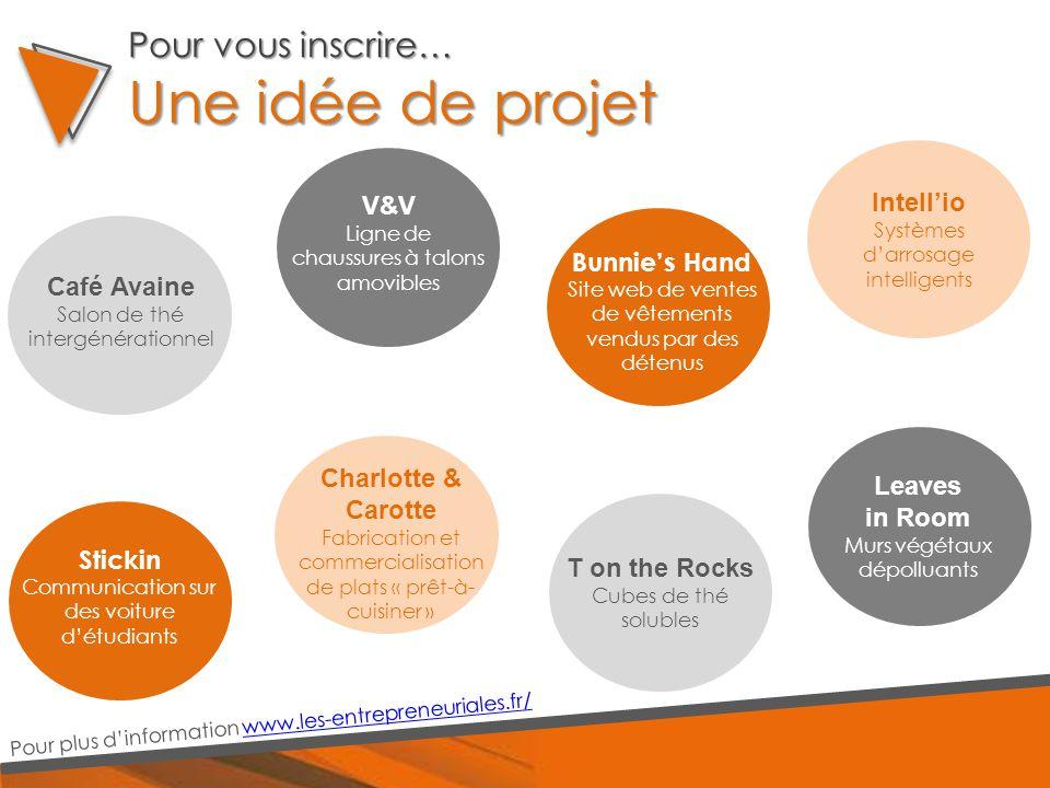 Une idée de projet Pour plus d'information www.les-entrepreneuriales.fr/www.les-entrepreneuriales.fr/ Café Avaine Salon de thé intergénérationnel V&V