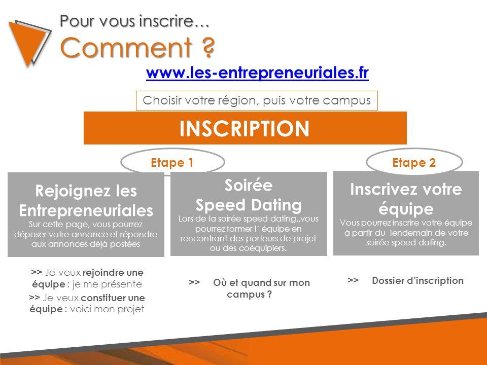 Pour vous inscrire… Comment ? www.les-entrepreneuriales.fr INSCRIPTION >> Je veux rejoindre une équipe : je me présente >> Je veux constituer une équi