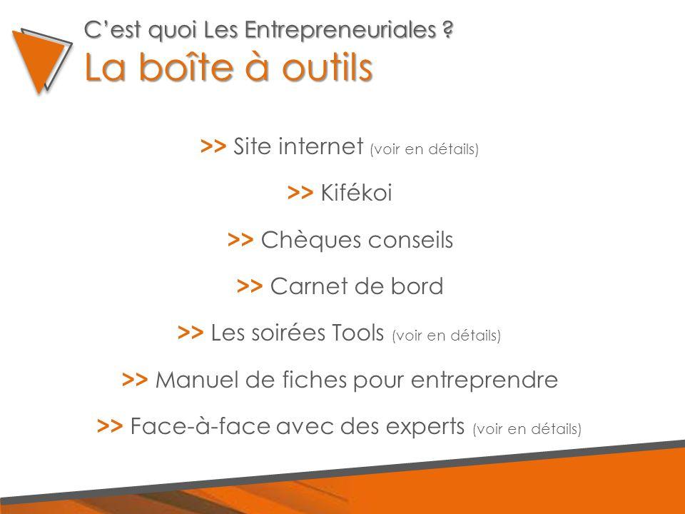 >> Site internet (voir en détails) >> Kifékoi >> Chèques conseils >> Carnet de bord >> Les soirées Tools (voir en détails) >> Manuel de fiches pour entreprendre >> Face-à-face avec des experts (voir en détails) C'est quoi Les Entrepreneuriales .