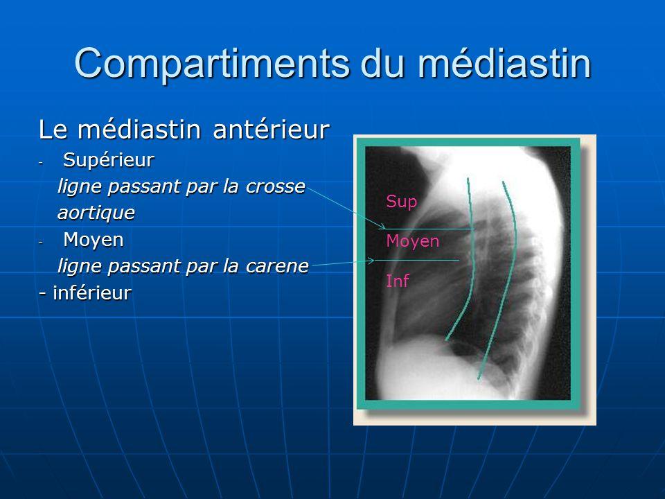 Compartiments du médiastin Le médiastin antérieur - Supérieur ligne passant par la crosse ligne passant par la crosse aortique aortique - Moyen ligne passant par la carene ligne passant par la carene - inférieur Sup Moyen Inf