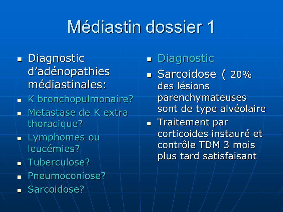 Médiastin dossier 1 Diagnostic d'adénopathies médiastinales: Diagnostic d'adénopathies médiastinales: K bronchopulmonaire.