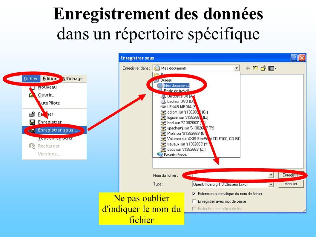 Enregistrement des données dans un répertoire spécifique Ne pas oublier d indiquer le nom du fichier