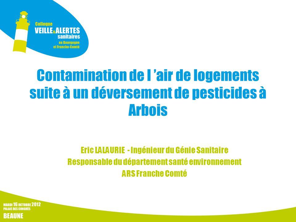 Contamination de l 'air de logements suite à un déversement de pesticides à Arbois Eric LALAURIE - Ingénieur du Génie Sanitaire Responsable du département santé environnement ARS Franche Comté