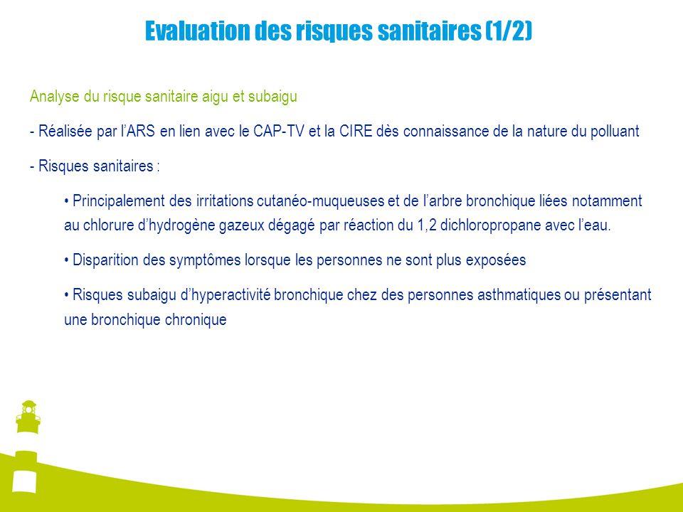Evaluation des risques sanitaires (1/2) Analyse du risque sanitaire aigu et subaigu - Réalisée par l'ARS en lien avec le CAP-TV et la CIRE dès connaissance de la nature du polluant - Risques sanitaires : Principalement des irritations cutanéo-muqueuses et de l'arbre bronchique liées notamment au chlorure d'hydrogène gazeux dégagé par réaction du 1,2 dichloropropane avec l'eau.