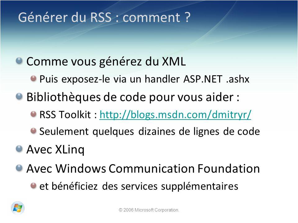 Générer du RSS : comment .