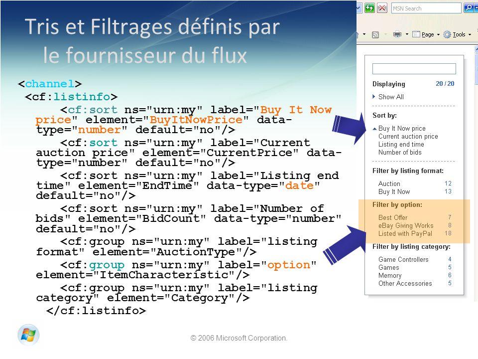© 2006 Microsoft Corporation. Tris et Filtrages définis par le fournisseur du flux
