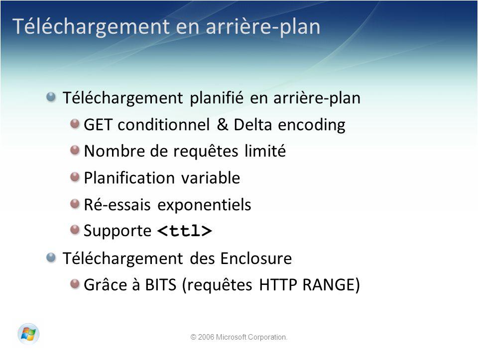 © 2006 Microsoft Corporation. Téléchargement en arrière-plan Téléchargement planifié en arrière-plan GET conditionnel & Delta encoding Nombre de requê